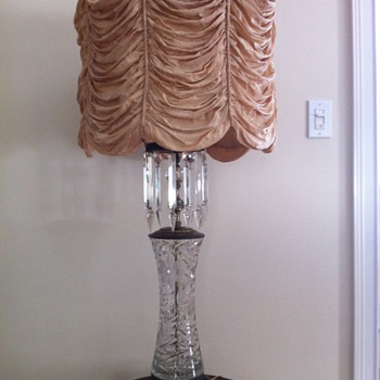 Table lamp, bronze and crystal with silk shade - Lamps