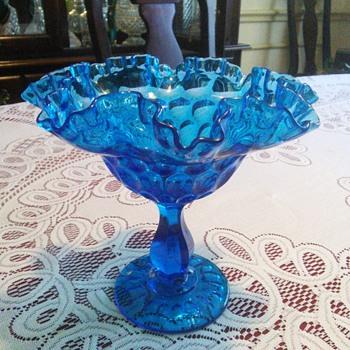 Fenton Glass Colonial Blue Ruffle Thumbprint Pedestal Bowl (no mark)