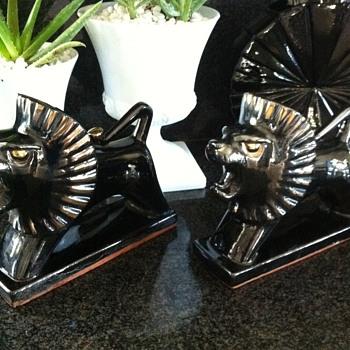 Japanese Ceramic Lions-  - Mid-Century Modern