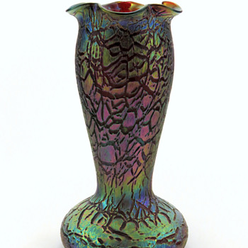Rindskopf Tall Rubina Crackle Vase - Art Glass