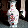 "Chinese Porcelain  10"" Baluster Vase/ Hand Painted / Marked W ""U"" /Unknown Age"