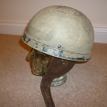 Early British WWII dispatch riders steel helmet.