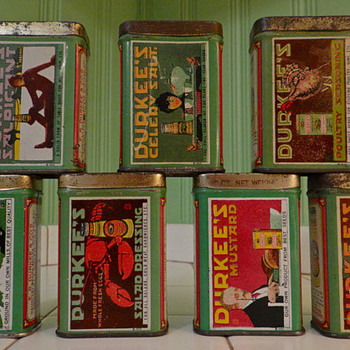 Gorgeous tin litho Durkee spice tins - Advertising