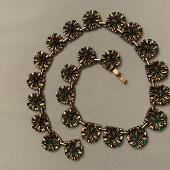 vintage Trifari (Patent Pending) four-leaf clover motif necklace with tiny green rhinestones, collar length - Costume Jewelry