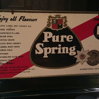 VINTAGE PURE SPRING BEVERAGES METAL SIGN!