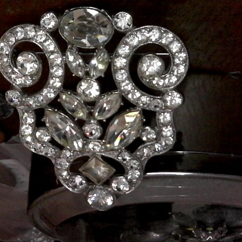 Clear Rhinestone Brooch signed ORA - Costume Jewelry
