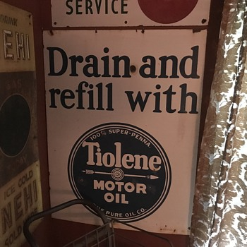1920's  Tiolene Motor oil Drain and refill Porcelain sign  - Petroliana