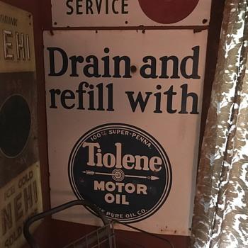 1920's  Tiolene Motor oil Drain and refill Porcelain sign  - Petroliana