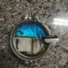 Silver plated butterfly wing ashtray depicting victoria falls