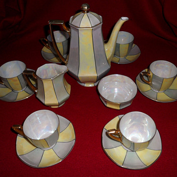 My lovely Bohemian lustreware coffee set. - China and Dinnerware