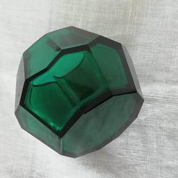 Ludwig Moser & Söhne ca. 1920 emerald green glass vase (Hoffmann?) - Art Glass