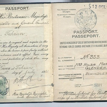 1931 British passport - Theran