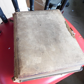 """Antique Album Photo Book,Brass Faster Stamped """"M.Sch. JFK"""""""