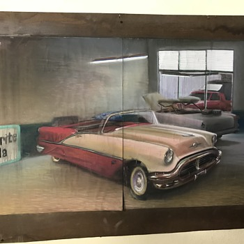 Two 1956 Olds starfire convertibles pastel art work  - Fine Art