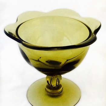 Avacado Green Glass Compote Unknown Mark Vintage Antique - Glassware