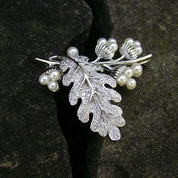 Trifari Acorn Pin - Costume Jewelry