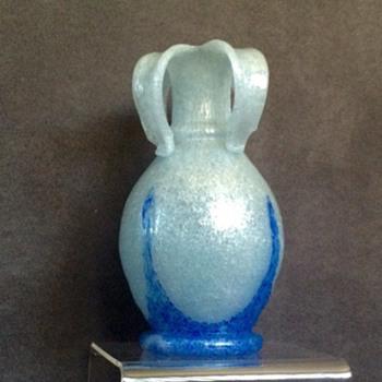 """Czech Beranek Skrdlovice Pulegoso Pulled Rim Vase 7"""" - Art Glass"""