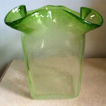Green Glass Vase - Art Glass