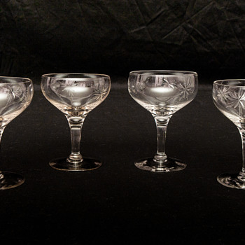 Gorgeous Cut Crystal Coupe Champagne Stemware - Glassware