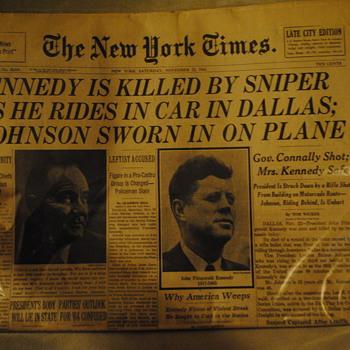 Nov 23, 1963 Kennedy Assassination NYT Newspaper - Paper