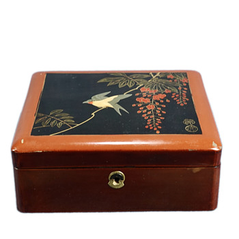 Japanese Lacquer Box - Signed on Top and Paper Label On Bottom - Asian