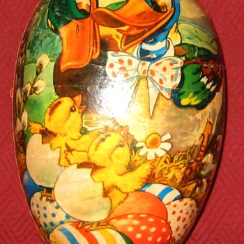 Vintage German Made Papier-Mâché Easter Egg Candy Container - Advertising