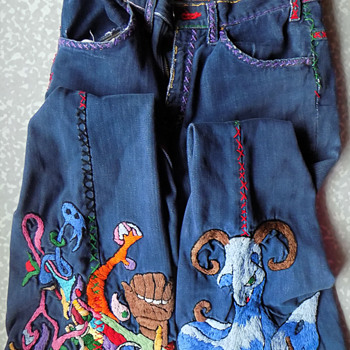 Brooklyn 1970s Psychedelic Hand Embroidered Jeans - Womens Clothing