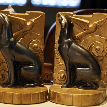 Whippet with Flying Cardinal Chalkware Bookends Stern-Louis Co., 1943 - Pottery