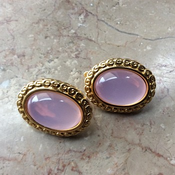 Trifari pink moonglow lucite earclips - Costume Jewelry