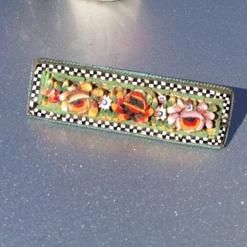 Vintage mosaic Italian ceramic brooch - Costume Jewelry