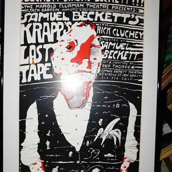 Rare Vintage 1986 Samuel Beckett's Krapp's Last Tape with Rick Cluchey Theatre Card Poster By JAN SAWKA Vintage Framed - Advertising