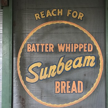 Sunbeam Bread screen door. - Advertising