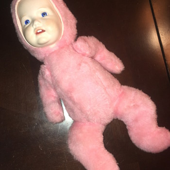 can anyone identify? Antique doll with porcelain face pink plush body and pointy  elf head?  - Dolls