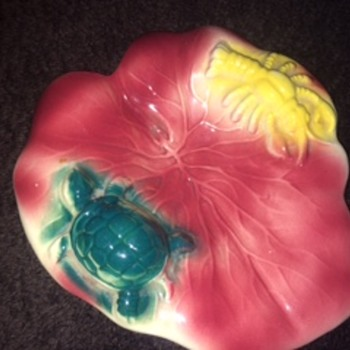 Turtle Crawdad/Crayfish on Rose Colored Leaf Dish - Pottery