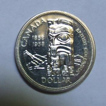 "1958 British Columbia Centennial ""Totem Pole"" Dollar"