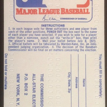All Star Ballot 1973