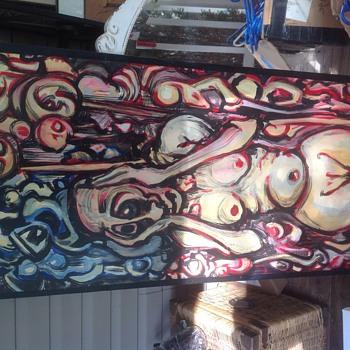 strange picture on wood  - Fine Art