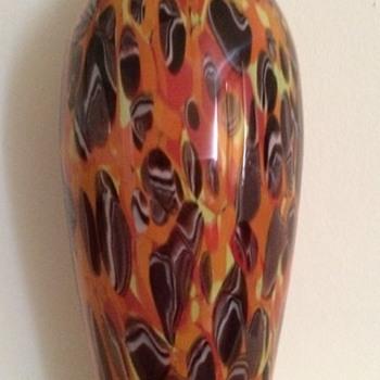 Kralik baluster form murrine tango glass vase - Art Glass