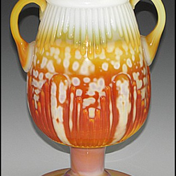 Pittsburgh Glass Ribbed Vase with Handles, ca. 1885  - Art Glass
