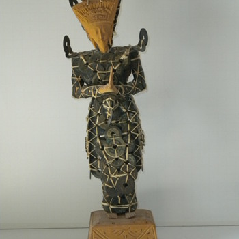 Oriental Coin and Wood Figurine - Asian