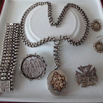 Classic set Sterling Silver Victorian jewelry. - Victorian Era