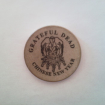 Grateful Dead Chinese New Year Wood Coin from 1994  - Music Memorabilia