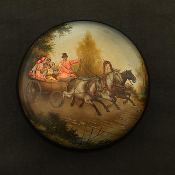 Antique Russian lacquer miniature of a trioka - Folk Art