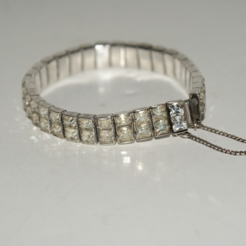 Vintage Sterling and Rhinestone Bracelet Marked F.S. Ster. - Fine Jewelry