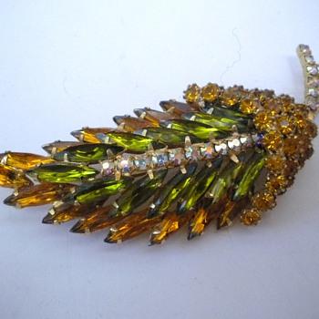 Large Rhinestone Leaf Brooch - Costume Jewelry