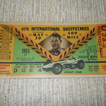 1963 Indy 500 stub - Sporting Goods