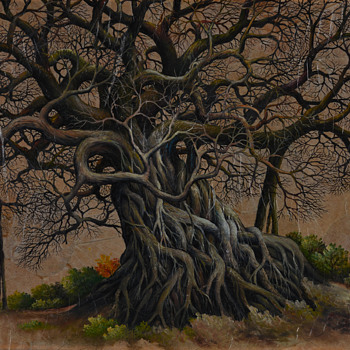 """Two trees by 'mystery artist """"LERT circa 2000 from Bangkok Thailand - Asian"""