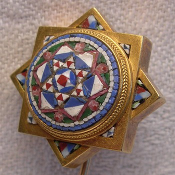 French18 K Micro Mosaic Estruscan style stick pin - Fine Jewelry