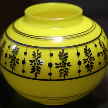 Round Yellow Glass Vase with Black Design - Aesthetic Movement? - Art Glass