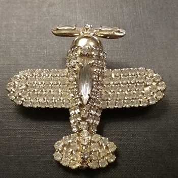 Bauer airplane brooch  - Costume Jewelry